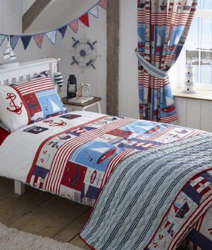 KIDS EMBROIDERED BEDDING DUVET QUILT COVER SET NAUTICAL SHIP BOATS BLUE WHITE RED